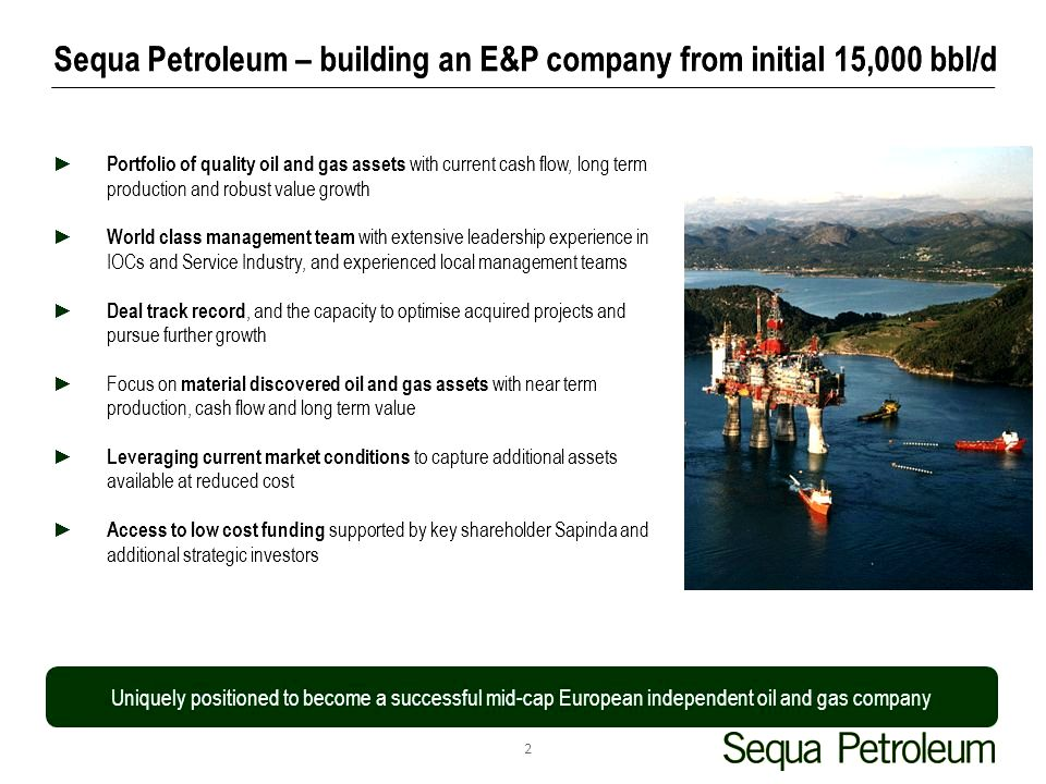 Sequa oil n.v. acquires large asset portfolio around the norwegian continental shelf and oil field